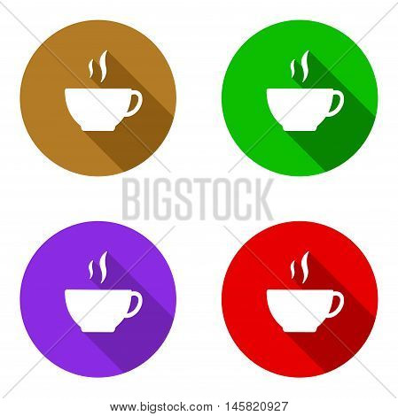 This is vector set colorful flat icons coffe