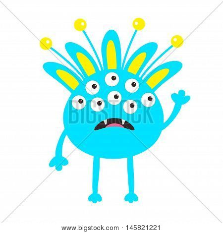 Blue monster with ears fang tooth and horns. Funny Cute cartoon character. Baby collection. Isolated. Happy Halloween card. Flat design. White background. Vector illustration