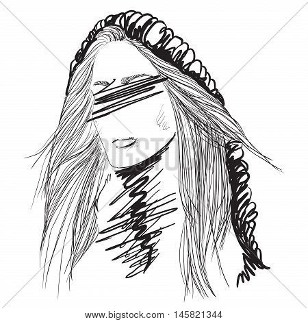 Young attractive fashion model. Woman cartoon face