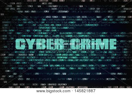 Text Cyber Crime written over unreadable encrypted code
