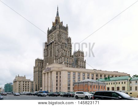 Moscow, Russia - July 14, 2016: The building of the Ministry of Foreign Affairs of the Russian Federation (address: Smolensk-Sennaya Square 32/34)