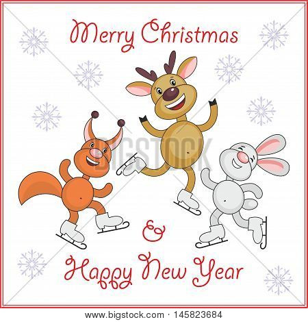 Greeting card merry Christmas and New Year  with the image of funny animals