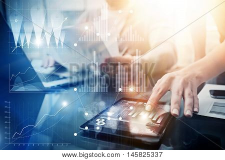 Global Strategy Virtual Icon Innovation Graph Interfaces.Coworkers Making Great Business Solution.Marketing Team Discussion Corporate Work Concept Office.Startup Creative Idea Touching Screen.Closeup