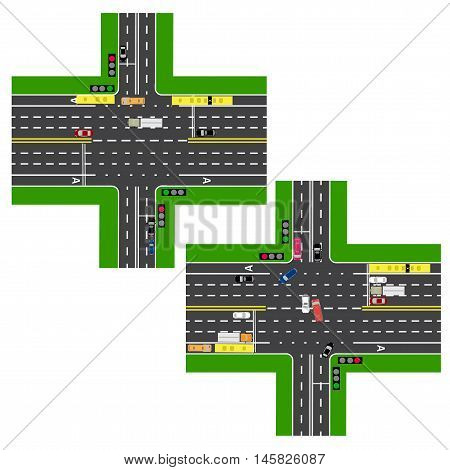 Junction Highway. roads, streets. The movement is regulated by traffic lights. Images of various cars, lanes for public transport. View from above. Vector illustration