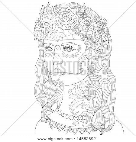 Page coloring for adults beautiful girl with make-up death mask Hand drawn adult coloring page Drawing zentangle Outline vector illustration girl with make-up for Halloween