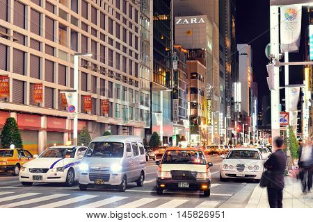 TOKYO, JAPAN - MAY 13: Ginza street view at night on May 13, 2013 in Tokyo. Tokyo is the capital of Japan and the most populous metropolitan area in the world