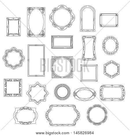 Doodle frames isolated on white background. Hand drawn line vector picture frame set