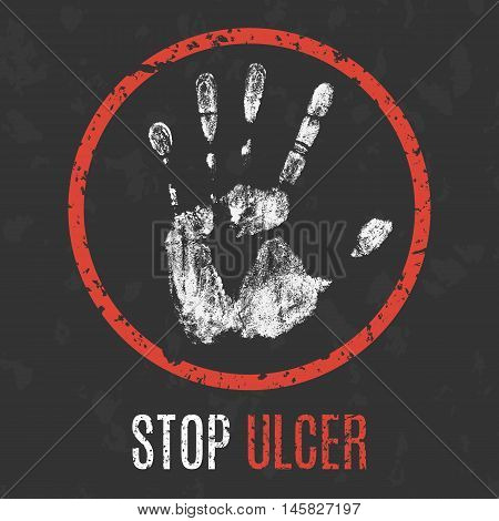 Conceptual vector illustration. Human diseases. Stop ulcer.