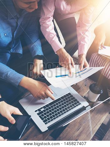 Startup Diversity Teamwork Brainstorming Meeting Concept.Business Team Coworkers Global Sharing Economy Laptop Touchscreen.People Working Planning Start Up.Group Young Men Women Looking Report Office