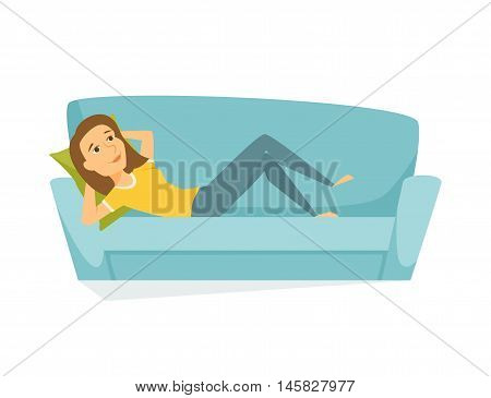 Woman lying on the sofa. Happy smile girl relaxing on sofa at home. Young woman relax on couch and dream. Person lying and resting. Home leisure