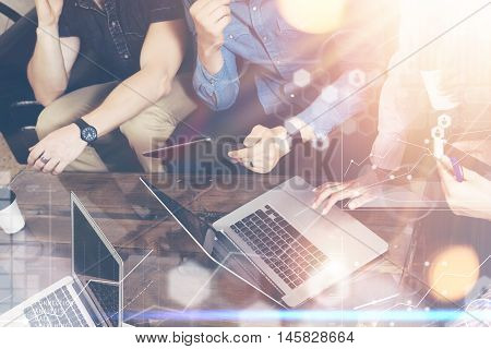 Global Strategy Connection Virtual Icon Graph Interface Diagram Marketing Research.Online Business Startup People Brainstorming Process.Concept Coworkers Team Making Best Corporate Decisions.Closeup