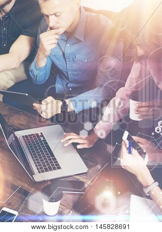 Global Strategy Connection Virtual Icon Graph Interface Diagram Marketing Research.Online Business Startup People Brainstorming Process.Concept Coworkers Team Making Best Corporate Decisions.Vertical