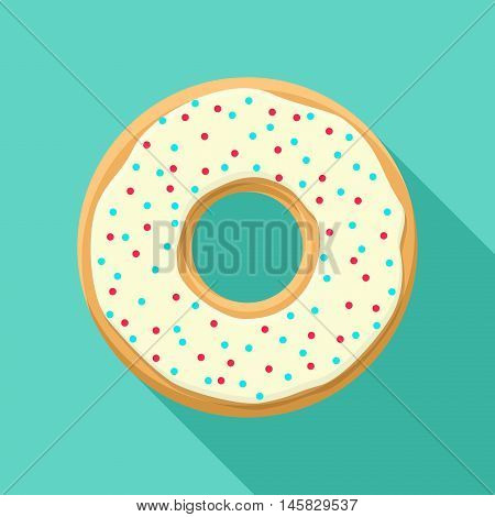 Sweet donut isolated on blue background. Yummy cookie vector donut food. Candy decoration color donut with topping. Glazed pastry delicious snack, eat candy.