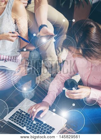 Global Strategy Connection Virtual Icon Graph Interface Diagram Marketing Research.Coworkers Meeting Communication Discussion Working Office Startup Concept.Using Modern Digital Gadget Coffee Cup Hand