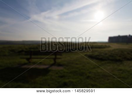 View Over The Cornish Countryside With Low Light Out Of Focus.