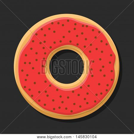Sweet red donut isolated on dark background. Yummy cookie donut food. Candy decoration color donut with topping. Glazed pastry delicious snack, eat candy.