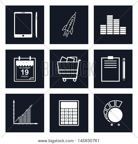 Set of Black Round Business Icons, Phone and Office Items, Icon of Business Success, Graph Growth, Shopping Basket, Black and White Vector Illustration