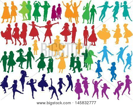 illustration with dancing child silhouettes collection isolated on white background
