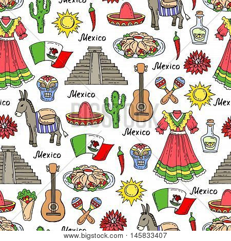 Vector seamless pattern on the theme of Mexico travel tourism. Pattern with colored symbols of Mexico. Background for use in design, web site, packing, textile, fabric