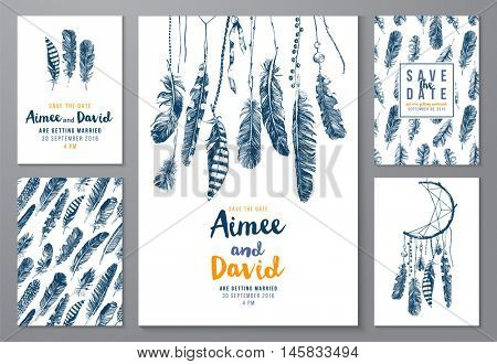 5 save the date posters with hand drawn feathers