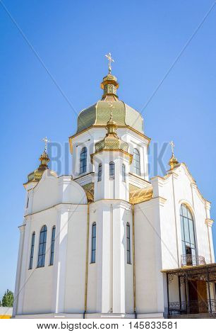 Zaporizhia/Ukraine- July 16, 2016: exterior of orthodox St. Nicholas Church, referred to Kiev Patriarchy. The building was completed in October, 2011