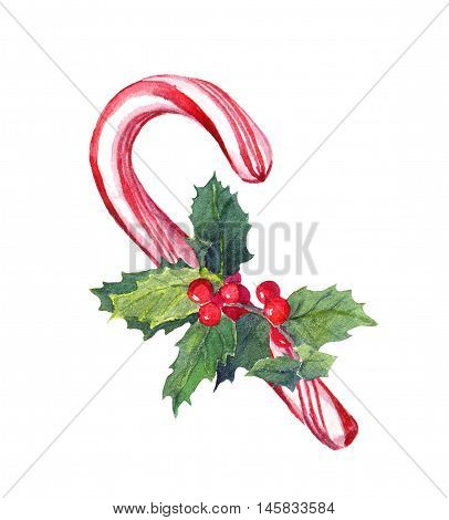 Christmas candy cane with xmas mistletoe. Watercolor
