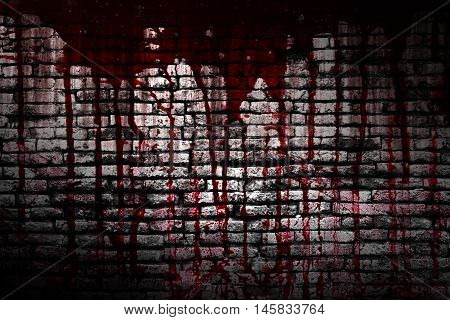 set 8. bloody brick wall in the dark for horror content and halloween festival. 3d illustration.