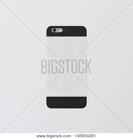 Closeup One Blank White Clean Template Cover Phone.Highly Textured Natural Wood Case Smartphone Mockup.Generic Design Mobile Back Isolated Empty Background.Corporate Logo Message.3d rendering