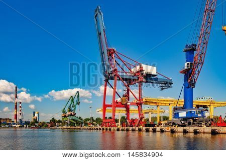 Big Gantry Cranes in port of Gdansk Poland.