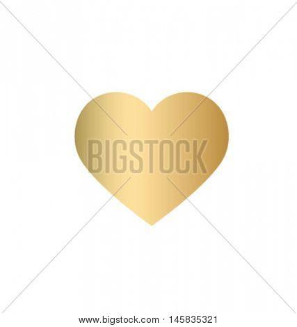 Gold heart Icon vector. heart design element. Love symbol.