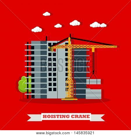 Construction site concept vector banner. Building under construction. Hoisting crane.