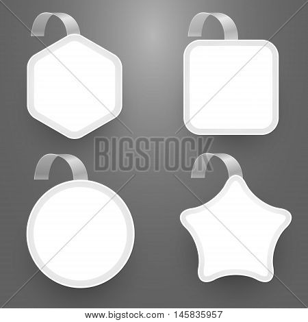 Set with wobbler design templates in shape of square circle star and polygon. Vector illustration.