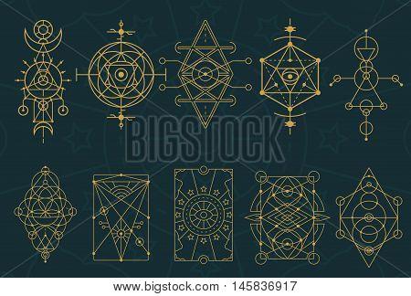 Abstract Sacred Geometry And Magic Symbols Set 4