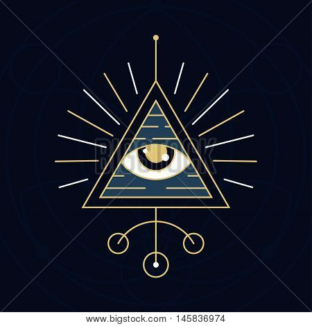 The Eye Illustration - Mystical sign made in the style of sacred geometry symbols.
