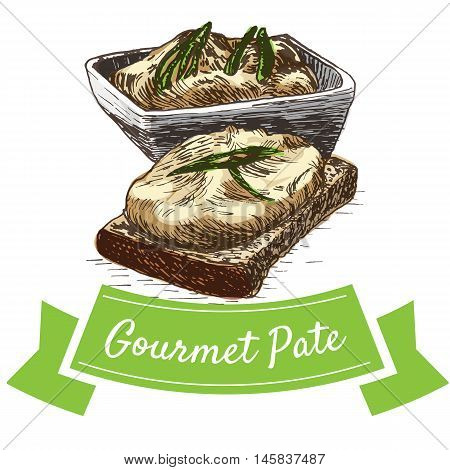 Vector illustration colorful set with gourmet pate. Illustration of gourmet pate on white background