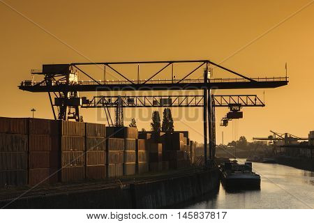 Industrial area Frankfurt Osthafen toned image at dawn