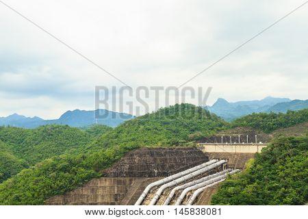 The Srinakarin Dam in the evening, Thailand.