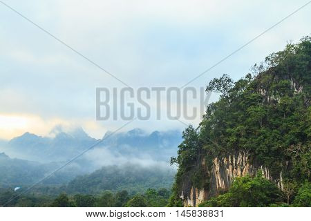 Mountain and forest view in the morning with copy space Thailand.