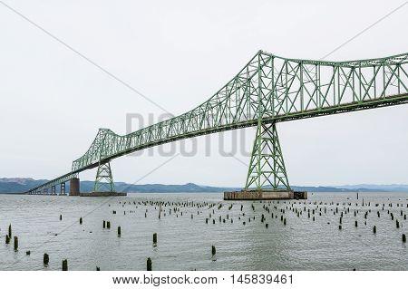 A Green steel bridge in Astoria Oregon