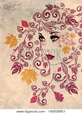 Autumn Girl With Floral Grunge