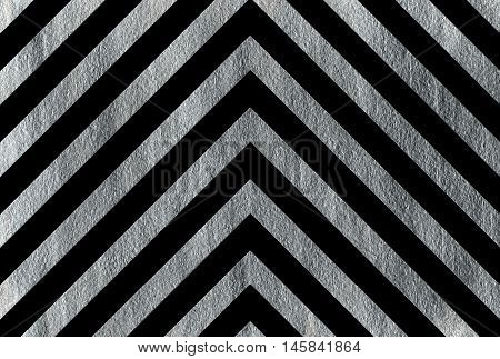 Silver Stripes On Black Background, Chevron.