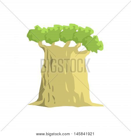 Wide Old Baobab Tree Jungle Landscape Element. Simple Tropical Forest Object Illustration Isolated On White Background.
