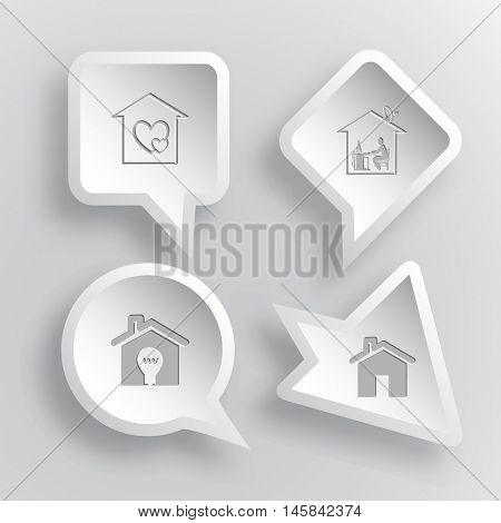 4 images: orphanage, home work, light in home. Home set. Paper stickers. Vector illustration icons.