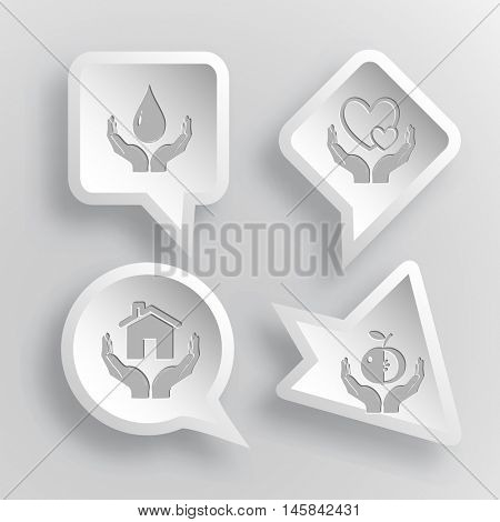 4 images: protection blood, love in hands, home in hands, apple in hands. In hands set. Paper stickers. Vector illustration icons.
