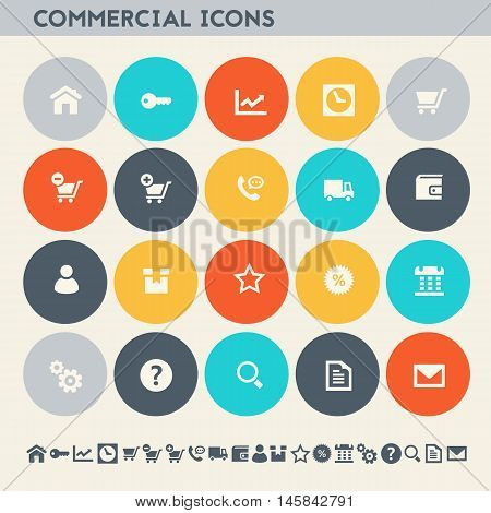 Modern flat design multicolored commercial icons collection