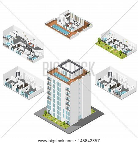 Residential house with apartments in a cut isometric icons set vector graphic illustration