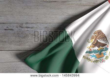 Mexico Flag On A Wooden Surface