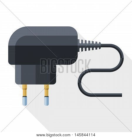 Vector Phone Charger Icon. Simple Icon In Flat Style With Long Shadow On White Background