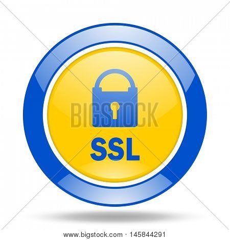 ssl round glossy blue and yellow web icon