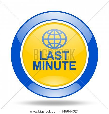 last minute round glossy blue and yellow web icon